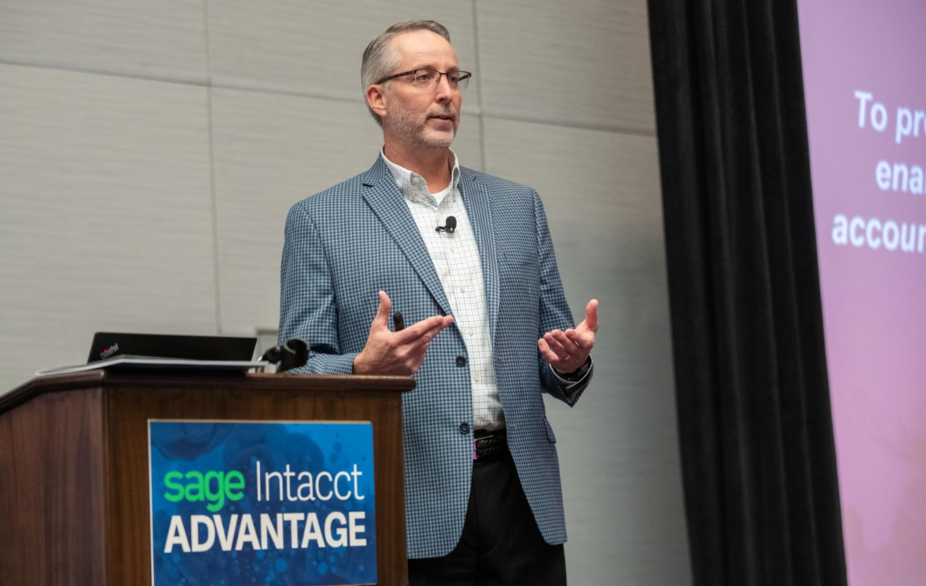 Sage Intacct Advantage - a men speaking