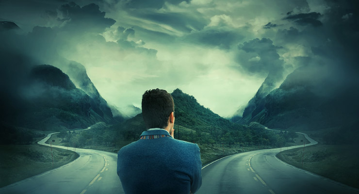 A man tries to decide which path to take