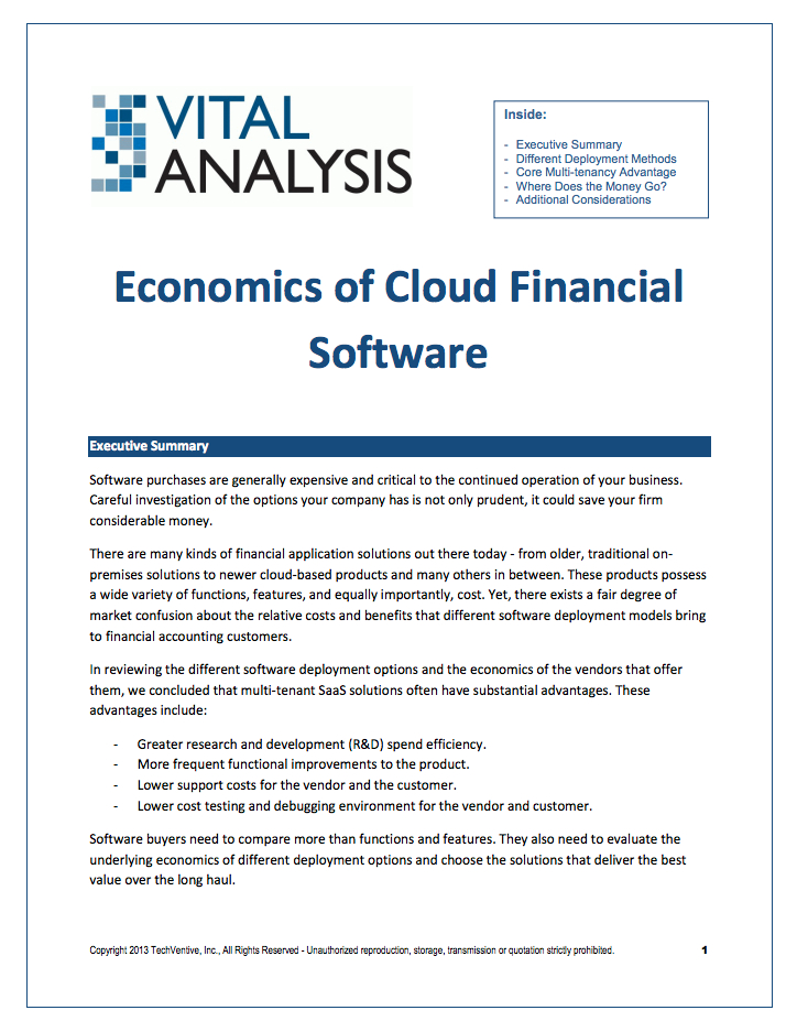 Top accounting software - read the white paper, Economics of Cloud Financial Software