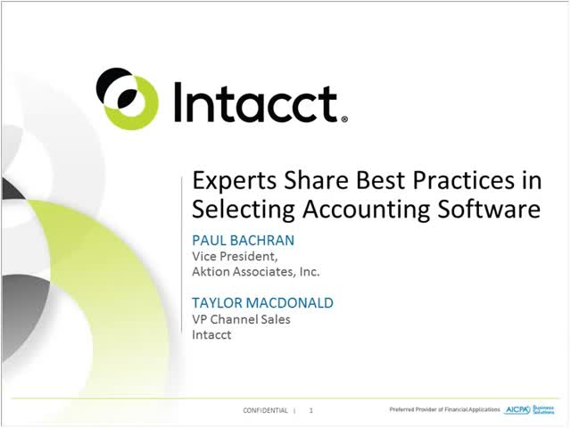 Cloud accounting service - On-Demand Webinar:  Experts Share Best Practices in Selecting Accounting Software