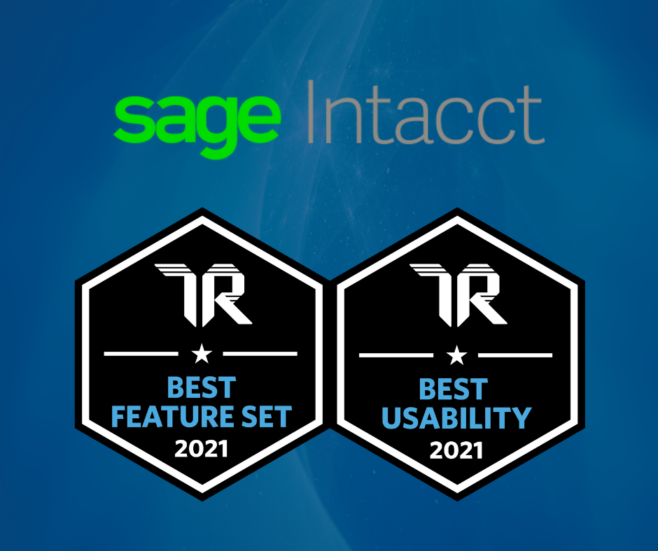 Sage Intacct TrustRadius Best Feature Set and Best Usability 2021 Award